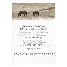 Rustic Horse Farm Wedding Custom Invite