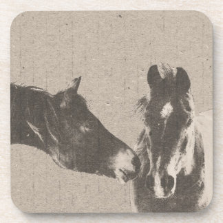 Rustic Horse Heads Beverage Coaster