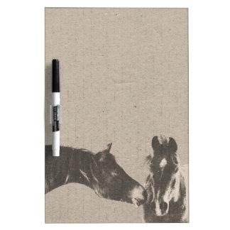 Rustic Horse Heads Dry Erase Board
