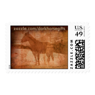 Rustic Horse Painting, Equine Art for Horse-lovers Postage