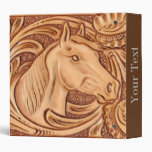 Rustic Horse pattern tooled leather 3 Ring Binders