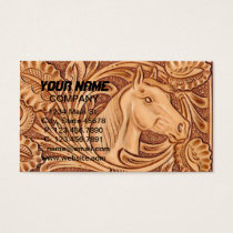 Rustic Horse pattern tooled leather Business Card