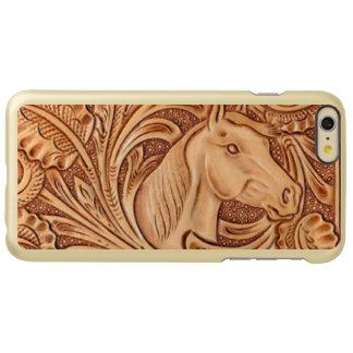 Rustic Horse pattern tooled leather Incipio Feather® Shine iPhone 6 Plus Case
