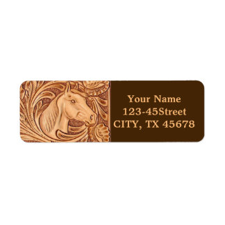 Rustic Horse pattern tooled leather Label
