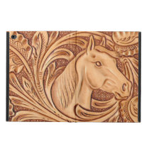 Rustic Horse pattern tooled leather Powis iPad Air 2 Case