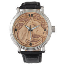 Rustic Horse pattern tooled leather Wristwatch