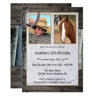 Rustic Horse Photo Kids Birthday Invitation