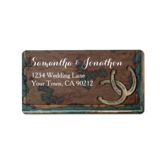 Rustic Horseshoe and Wood Address Label
