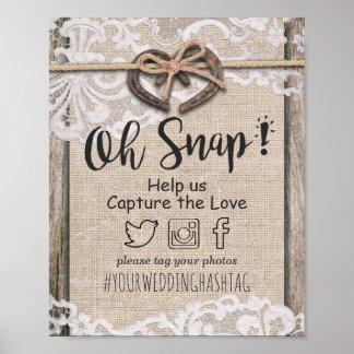 Rustic Horseshoe Burlap Lace Snap Hashtag Wedding Poster