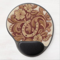 rustic horseshoe cowgirl western country floral gel mouse pad