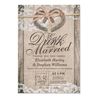 Rustic Horseshoe Lace EAT Drink Be Married Wedding Card