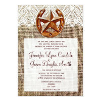 Rustic Horseshoe Star Burlap Wedding Invitations