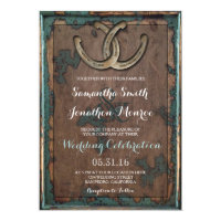 Rustic Horseshoe Wedding Invitation