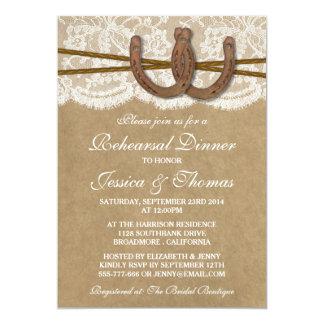 Rustic Horseshoe Wedding Rehearsal Dinner 5x7 Paper Invitation Card