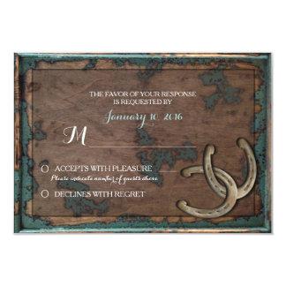 Rustic Horseshoe Wedding RSVP Card