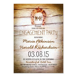 rustic horseshoe wood engagement party invitation