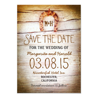 rustic horseshoe wood save the date cards