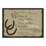 Rustic Horseshoes and Burlap Wedding Announcements