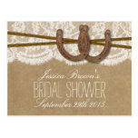 Rustic Horseshoes Bridal Shower Recipe Cards