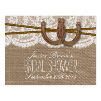 Rustic Horseshoes Bridal Shower Recipe Cards Postcard