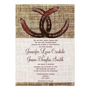 Rustic Horseshoes Burlap Print Wedding Invitations