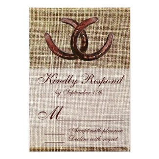 Rustic Horseshoes Burlap Print Wedding RSVP Cards