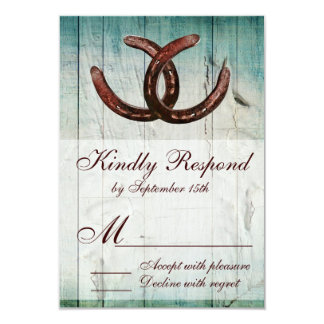 Rustic Horseshoes Country Style Wedding RSVP Card