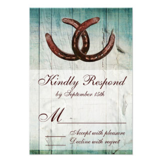 Rustic Horseshoes Country Style Wedding RSVP Announcement