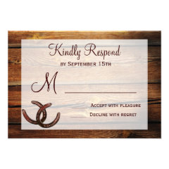 Rustic Horseshoes Country Wedding RSVP Cards