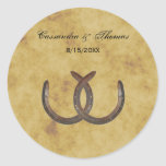 Rustic Horseshoes Distressed BG envelope seals Classic Round Sticker