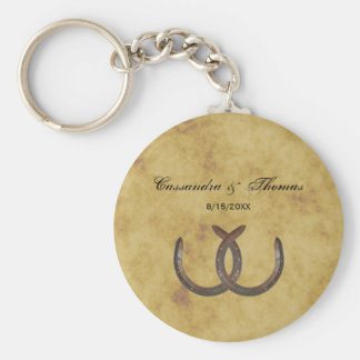 Rustic Horseshoes Distressed BG Keychain