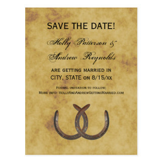 Rustic Horseshoes Distressed BG Save the Date Postcard