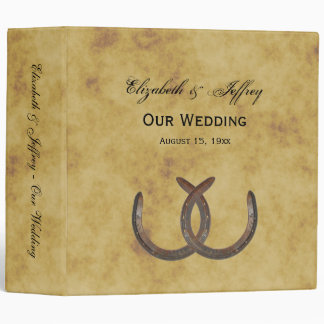Rustic Horseshoes Distressed BG Wedding Binder