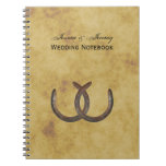 Rustic Horseshoes Distressed BG Wedding Journal Spiral Notebook