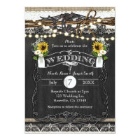 Rustic Horseshoes & Flowers Wedding Invitations