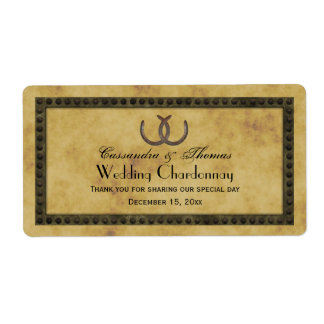 Rustic Horseshoes Frm Distressed BG Wine Label Shipping Label