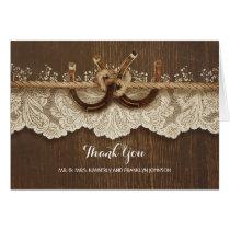 Rustic Horseshoes Lace Wood Wedding Thank You