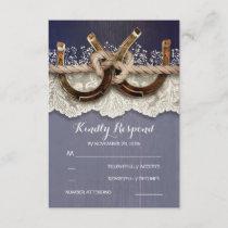 Rustic Horseshoes Wood Lace Navy Wedding RSVP