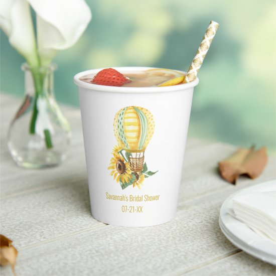 Rustic Hot Air Balloon and Sunflowers Bridal  Paper Cups
