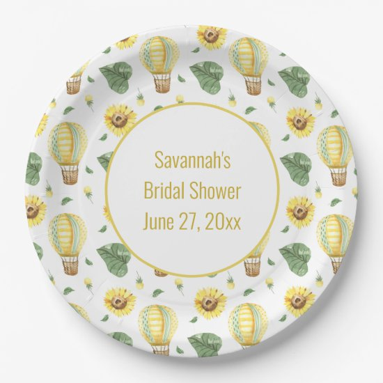 Rustic Hot Air Balloon and Sunflowers Bridal  Paper Plate