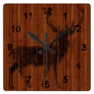 Rustic Hot Branded Deer Image in wood Square Wall Clocks