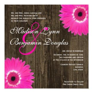 """Rustic Hot Pink Daisy Square Wedding Invitations 5.25"""" Square Invitation Card"""