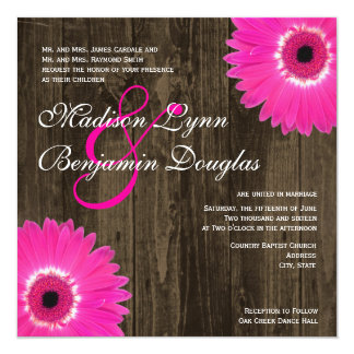 Rustic Hot Pink Daisy Square Wedding Invitations