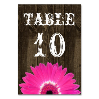 Rustic Hot Pink Daisy Wedding Table Number Card