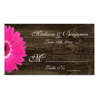 Rustic Hot Pink Gerber Daisy Wedding Place Cards