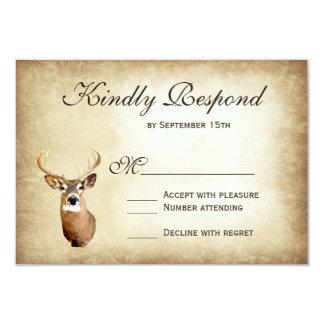 Rustic Hunting Deer Antlers Wedding RSVP Cards