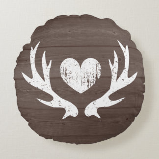 Rustic hunting theme deer antler round thow pillow