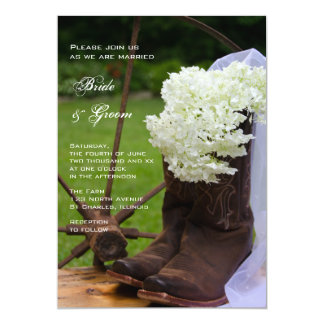 Rustic Hydrangea and Cowboy Boots Country Wedding 5x7 Paper Invitation Card
