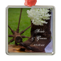 Rustic Hydrangea and Cowboy Boots Country Wedding Metal Ornament