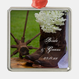 Rustic Hydrangea and Cowboy Boots Country Wedding Square Metal Christmas Ornament